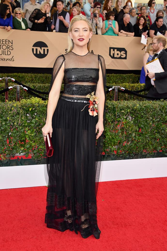 **Kate Hudson**, worn showing through the gaps of a gown.