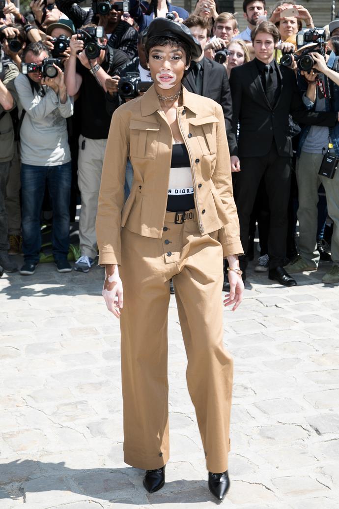 **Winnie Harlow**, worn under a suit.