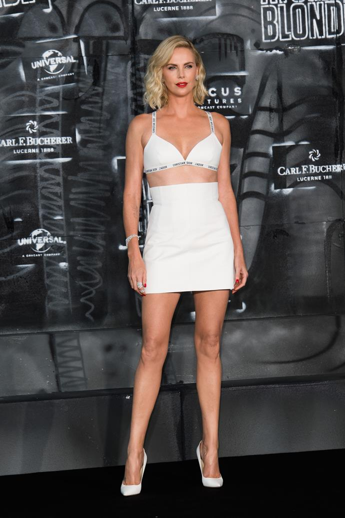 **Charlize Theron**, worn as a top with a mini-skirt.