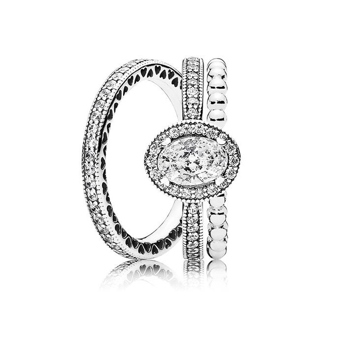 Vintage elegant ring stack, $227, [PANDORA](https://ad.doubleclick.net/ddm/clk/402852819;203018969;m)