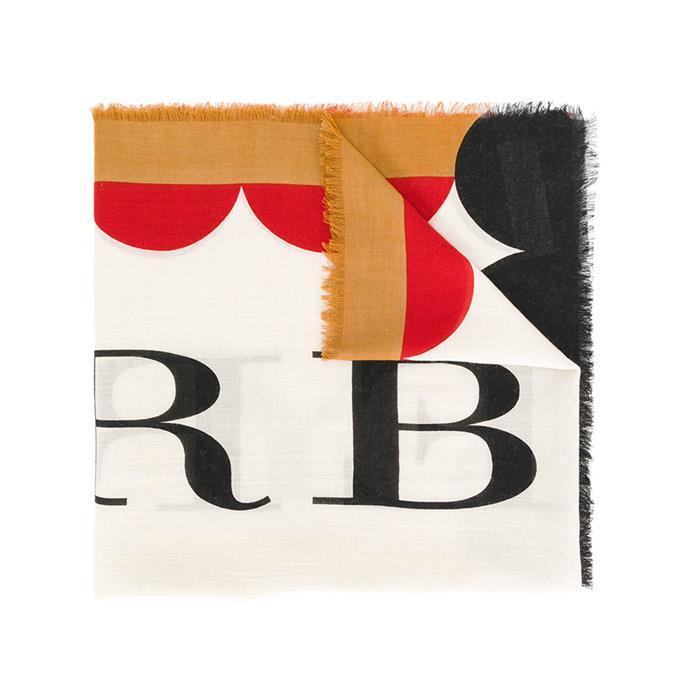 Scarf, $401, [Burberry at Farfetch](https://www.farfetch.com/au/shopping/women/burberry-patterned-logo-scarf-item-12236847.aspx?storeid=9728&from=listing&rnkdmnly=1)