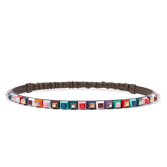 Headband, $580, [Fendi at Net-a-Porter](https://www.net-a-porter.com/au/en/product/894343/fendi/embellished-leather-headband)