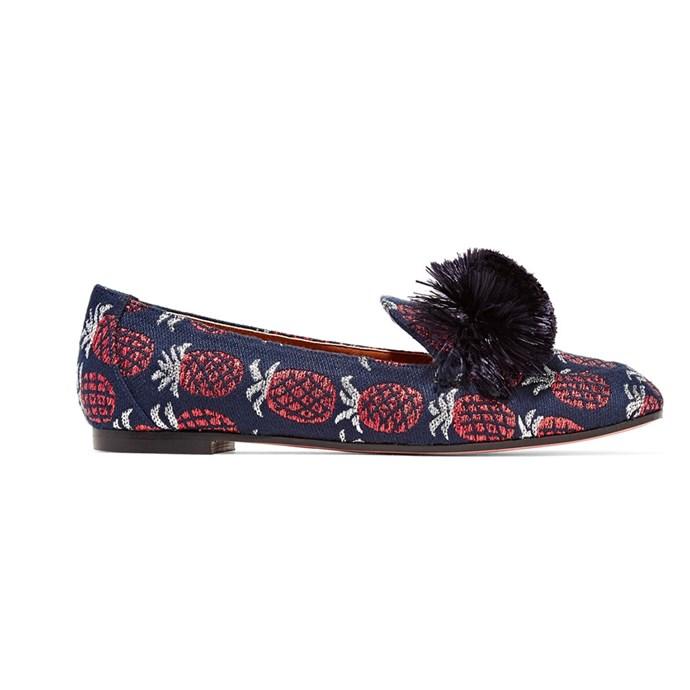 Loafers, $649.41, [Aquazzura at Net-a-Porter](https://www.net-a-porter.com/au/en/product/895561/aquazzura/wild-fringed-metallic-jacquard-loafers)