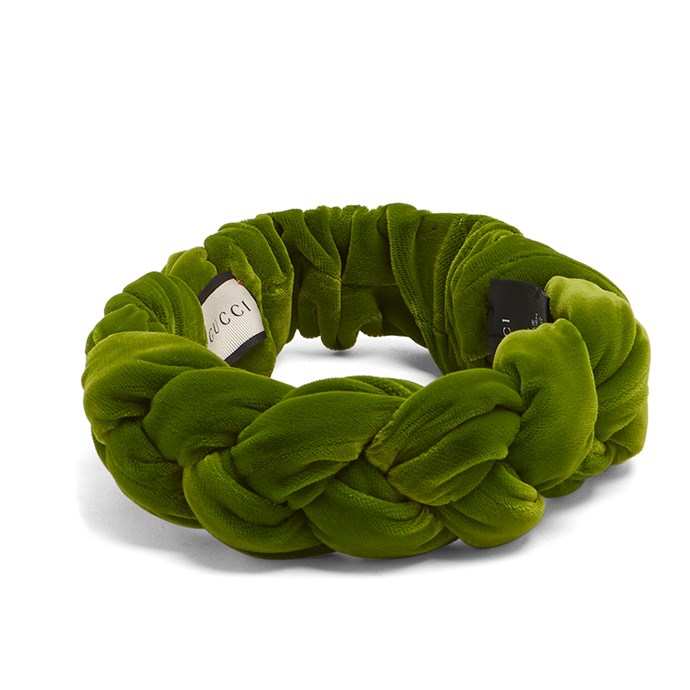 Headband, $930, [Gucci at Matches Fashion](http://www.matchesfashion.com/au/products/Gucci-Braided-velvet-headband-1171384)