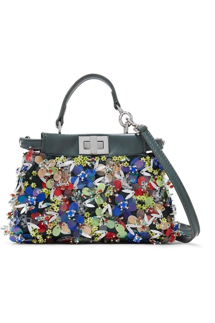 "**Buy:** Fendi bag, $4,190 at [Net-a-Porter](https://www.net-a-porter.com/au/en/product/792352/fendi/peekaboo-micro-appliqued-leather-shoulder-bag target=""_blank"")"