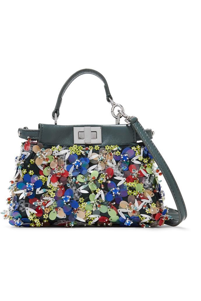 "**Buy:** Fendi bag, $4,190 at [Net-a-Porter](https://www.net-a-porter.com/au/en/product/792352/fendi/peekaboo-micro-appliqued-leather-shoulder-bag|target=""_blank"")"
