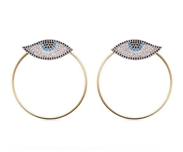 Evil Eye Hoop Earrings, $335, Venna at [Lane Crawford](http://www.lanecrawford.com/product/venna/-evil-eye-detachable-hoop-glass-crystal-earrings/_/ABB192/product.lc)
