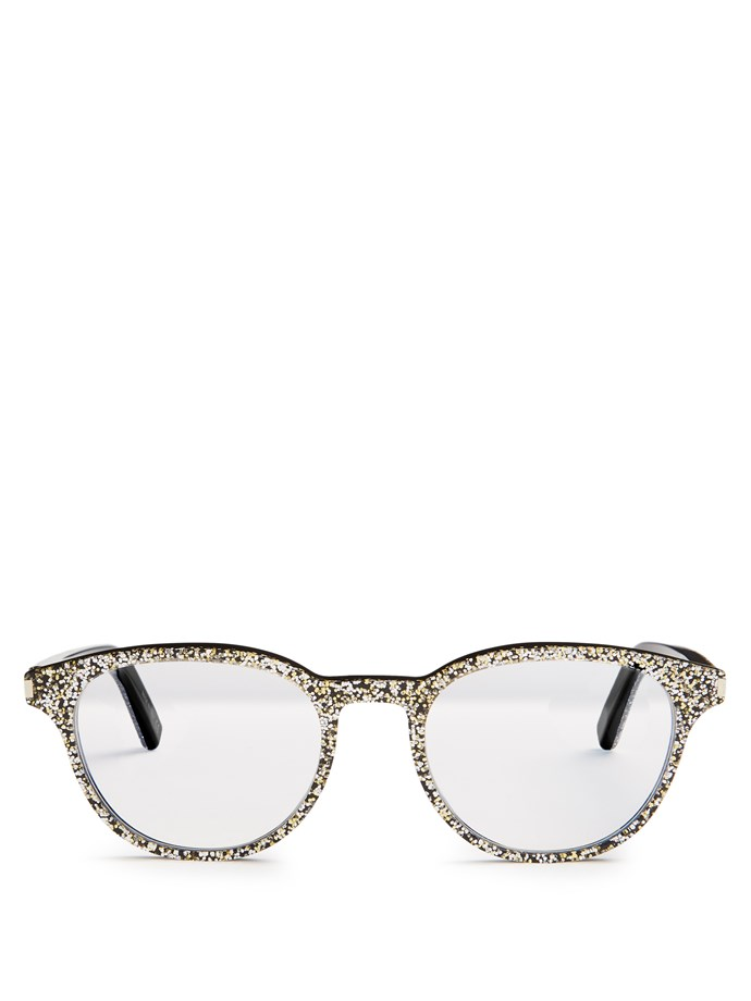 "One word: Fun.<br><br>  Glasses by Saint Laurent, $311 at [Matches Fashion](http://www.matchesfashion.com/au/products/Saint-Laurent-Round-frame-glitter-glasses--1086063|target=""_blank"")"
