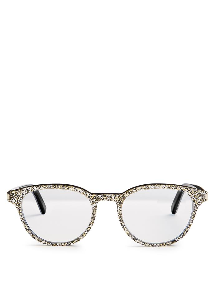 """One word: Fun.<br><br>  Glasses by Saint Laurent, $311 at [Matches Fashion](http://www.matchesfashion.com/au/products/Saint-Laurent-Round-frame-glitter-glasses--1086063