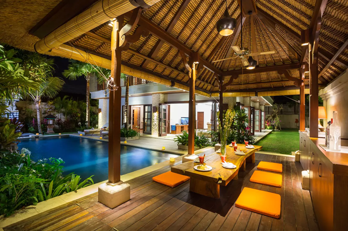**[La Bali Villa, South Denpasar](https://www.airbnb.com.au/rooms/8509037?guests=4&adults=2&children=2&location=Denpasar%20Selatan%2C%20Indonesia&s=Wo9d5a1R), Bali** <br> <br> **$432 per night, sleeps 12 guests** <br> <br> You have no chance of developing group holiday cabin fever in this space. There are four bedrooms and five bathrooms, chefs and spa therapists are a phone call away, and breakfast is included.