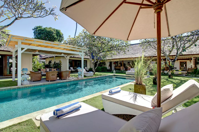 **[Colonial Villa, South Denpasar](https://www.airbnb.com.au/rooms/1778611?guests=4&adults=2&children=2&location=Denpasar%20Selatan%2C%20Indonesia&s=Wo9d5a1R), Bali**  <br> <br> **$513 per night, sleeps 8 guests**  <br> <br> This estate comprises of two villas, four bedrooms and five bathrooms in total, and a stunning 16 metre pool.