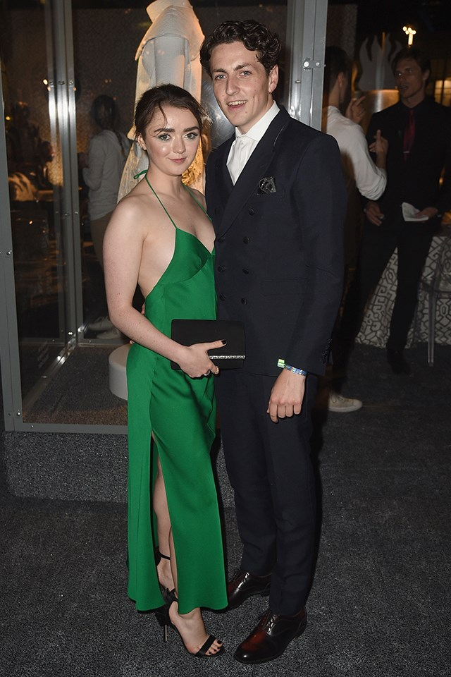 """**Maisie Williams** (Arya Stark) is dating Ollie Jackson. They have reportedly been dating for years; in a 2016 interview with British [*InStyle*](http://www.instyle.co.uk/celebrity/maisie-williams-instyle-magazine-interview-and-photos) the actress said, """"We've been together for over a year. I guess you could say things are getting pretty serious. He's not famous. I met him at school, and now he's my boyfriend."""" Ollie joined Maisie at the *Game of Thrones* season seven premiere."""