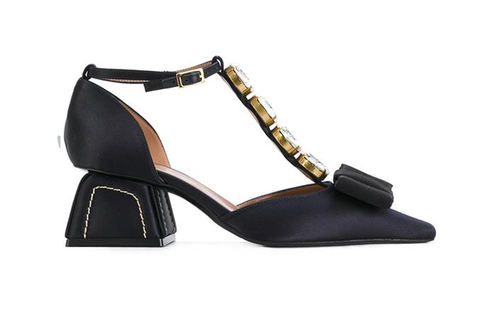 Pump, $968, Marni at [Farfetch](https://www.farfetch.com/au/shopping/women/marni-crystal-t-bar-pumps-item-12254142.aspx?storeid=9114&from=listing&rnkdmnly=1) <br><br> Not a fan of blush tones? Contemporary brides who love black finally have a solution in these embellished Marni pumps.