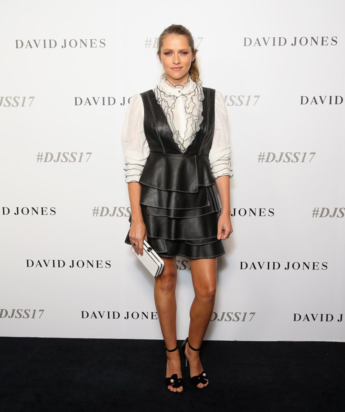 Teresa Palmer carrying an Oroton clutch