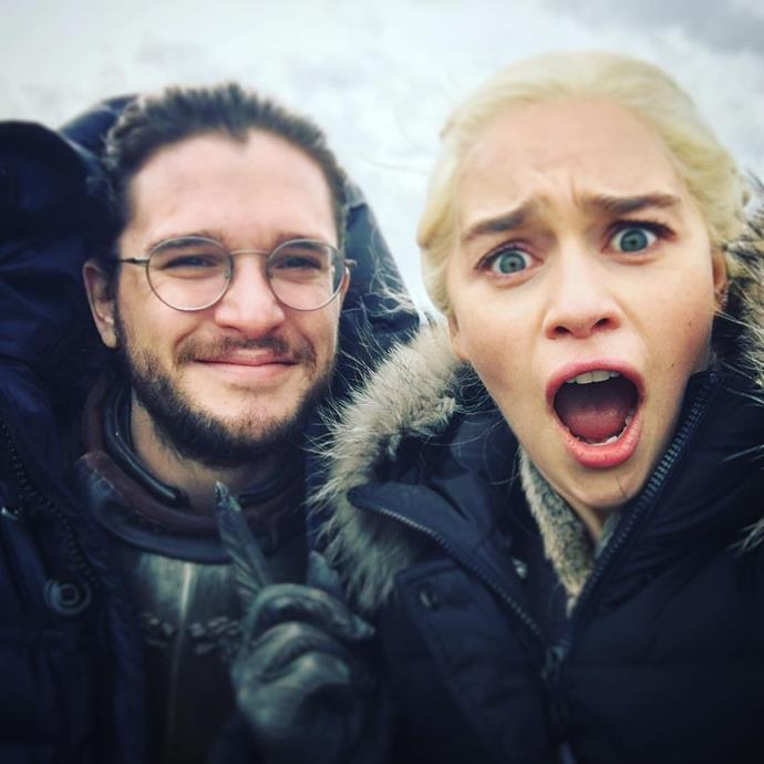 Emilia shared the [cutest BTS snap](https://www.instagram.com/p/BXddVfYF_tN/?taken-by=emilia_clarke) with Kit Harington when their characters finally met on *Game of Thrones*.