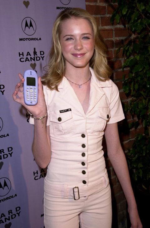 **EVAN RACHEL WOOD**  This was at a party commemorating the Motorola-Hard Candy phone because that's a thing that could happen before 9/11.