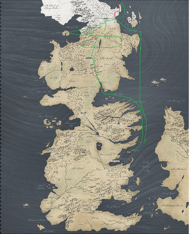 Image source: [erterbernds67](https://www.reddit.com/r/gameofthrones/comments/6tp5xv/everything_a_map_of_jon_snows_journey_compared_to/)