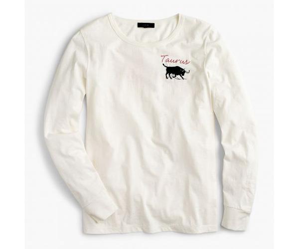 "J.Crew ""Taurus"" T-shirt,  $66.66, at [J.Crew](https://www.jcrew.com/au/p/womens_feature/horoscopetees/horoscope-tshirt-in-taurus/G9250)."