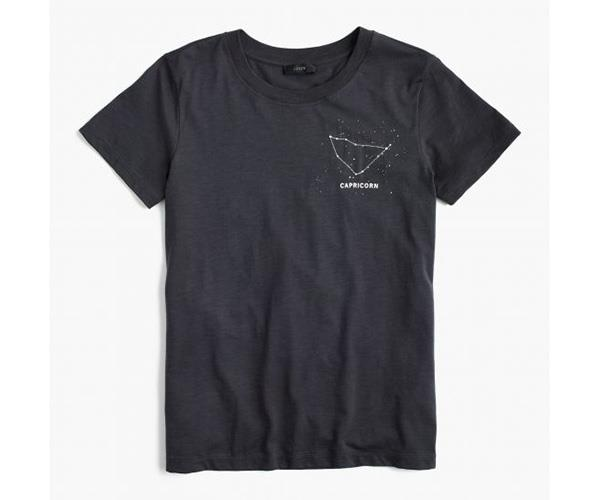"Capricorns get the best design of the bunch — an embroided constellation. <br> <br> J.Crew ""Capricorn"" T-shirt, $61.59, at [J.Crew](https://www.jcrew.com/au/p/womens_feature/horoscopetees/horoscope-tshirt-in-capricorn/G9247)."