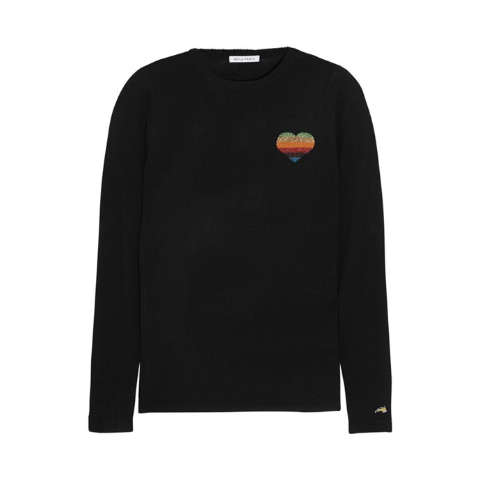 Sweater, $433, [Bella Freud at net-a-porter.com](https://www.net-a-porter.com/au/en/product/896763/Bella_Freud/disco-heart-metallic-intarsia-wool-blend-sweater).