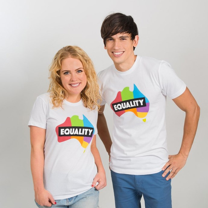 Equality t-shirt, $40, [Equality Campaign](https://shop.equalitycampaign.org.au/products/white-t-shirt-colour-logo).<br><br> All proceeds go to supporting the marriage equality campaign in Australia.