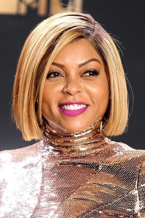 **TARAJI P. HENSON** <br><br> For those with round faces, a deep part on a blunt bob accentuates features.
