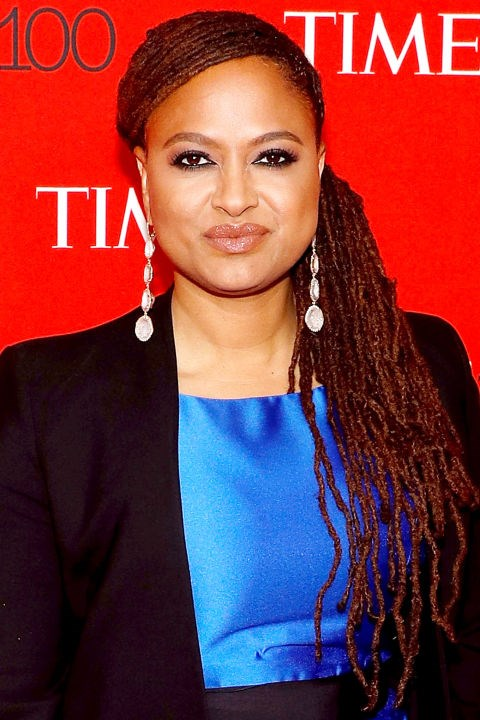 **AVA DUVERNAY** <br><br> Ava's asymmetrical ponytail pairs offset the shape of her face.