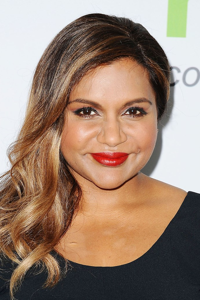 **MINDY KALING** <br><br> Like Upton, Mindy's asymmetrical hairstyle alters the perfect balance of a round face, making it appear longer.