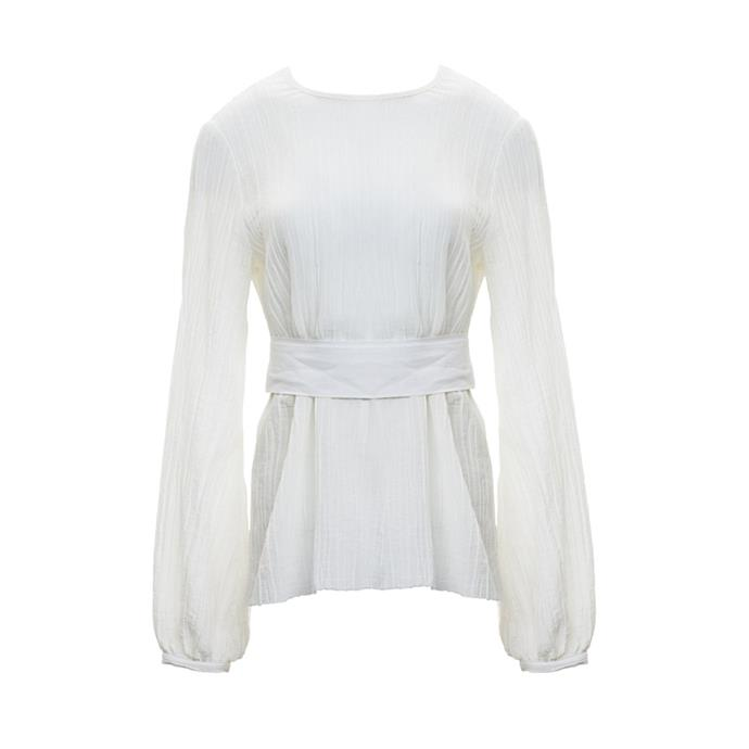 A linen blouse<br><br> To wear with tailored trousers and mules.<br><br> Blouse, $380, [Matin](https://www.theundone.com/products/matin-pleated-open-back-top-with-silk-linen-tie-ivory) at theundone.com.