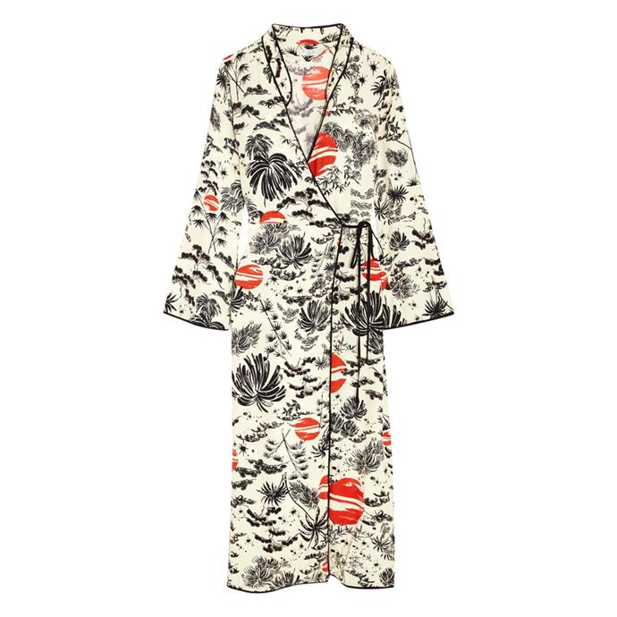 A printed wrap dress<br><br> To wear open over jeans and a blouse.<BR><BR> Dress, $412, [Rixo London](https://www.net-a-porter.com/au/en/product/942282/RIXO_London/cindy-printed-crepe-wrap-dress) at net-a-porter.com.