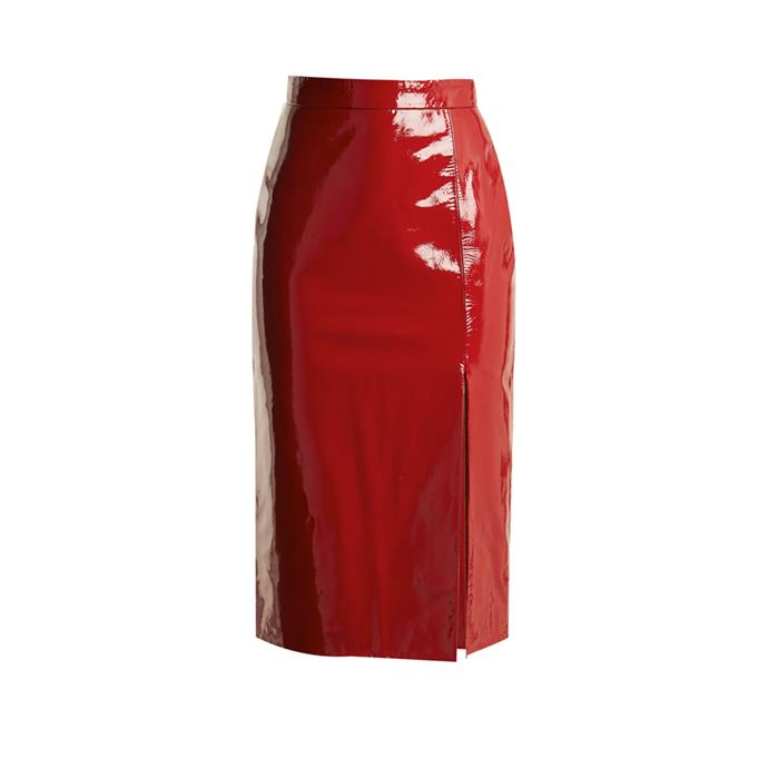 **The high-shine leather midi skirt**<br><br> Skirt, $1,300, [Saloni at matchesfashion.com](http://www.matchesfashion.com/products/Saloni-Kirsten-high-rise-patent-leather-pencil-skirt--1171563)