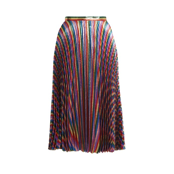 **The bright printed midi skirt**<br><br> Skirt, $1,985, [Gucci at matchesfashion.com](http://www.matchesfashion.com/products/Gucci-Striped-high-rise-pleated-midi-skirt-1155004)