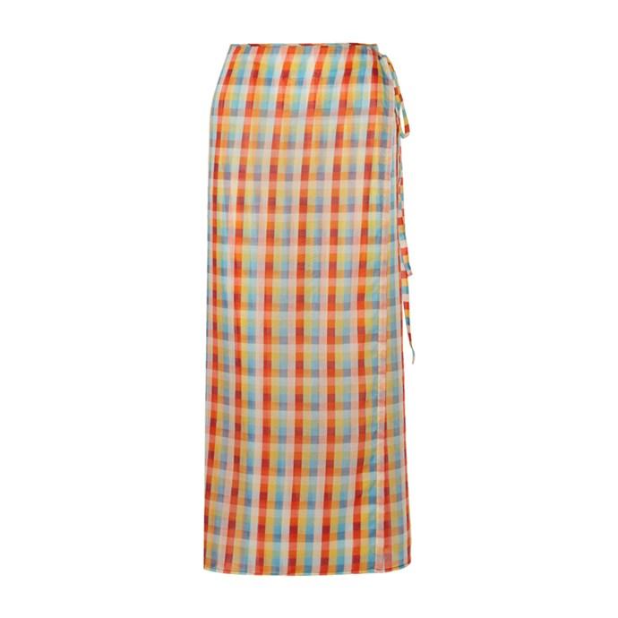 **The bright printed midi skirt**<br><br> Skirt, $750, [Miu Miu at net-a-porter.com](https://www.net-a-porter.com/au/en/product/821377/miu_miu/checked-cotton-voile-wrap-midi-skirt).