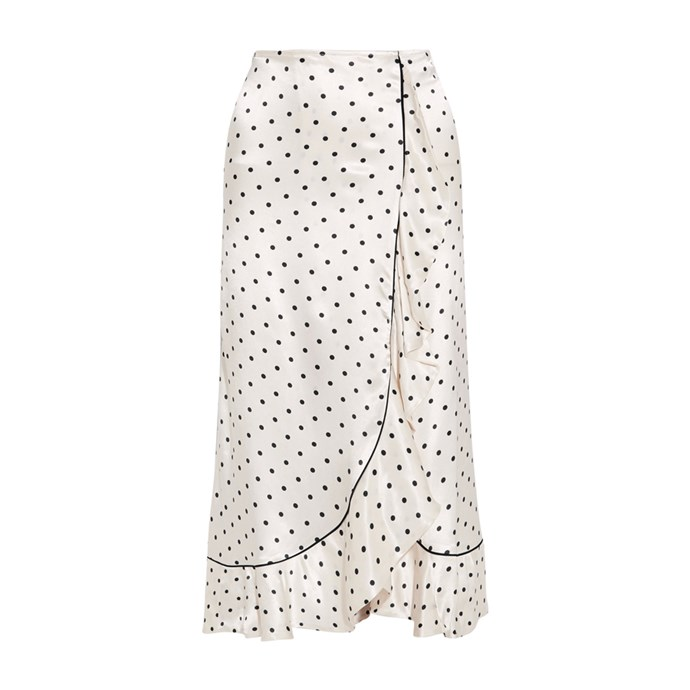 **The ruffled wrap midi skirt**<br><br> Skirt, $347, [Ganni at net-a-porter.com](https://www.net-a-porter.com/au/en/product/884242/ganni/leclair-ruffled-polka-dot-satin-midi-skirt)