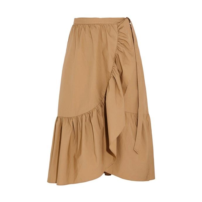 **The ruffled wrap midi skirt**<br><br> Skirt, $147, [J.Crew at net-a-porter.com](https://www.net-a-porter.com/au/en/product/898737/j_crew/ruffled-cotton-poplin-wrap-skirt)