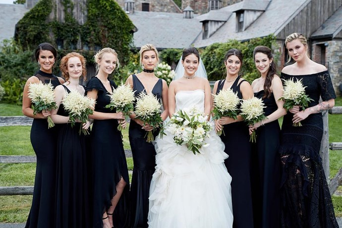 Hailey Baldwin was the maid of honour to her sister Alaia Baldwin for her wedding to Andrew Waronow in Parrot Cay—a private island resort in the Turks and Caicos Islands. Image from [@christianothstudio](https://www.instagram.com/p/BYjn0_In3iC/)