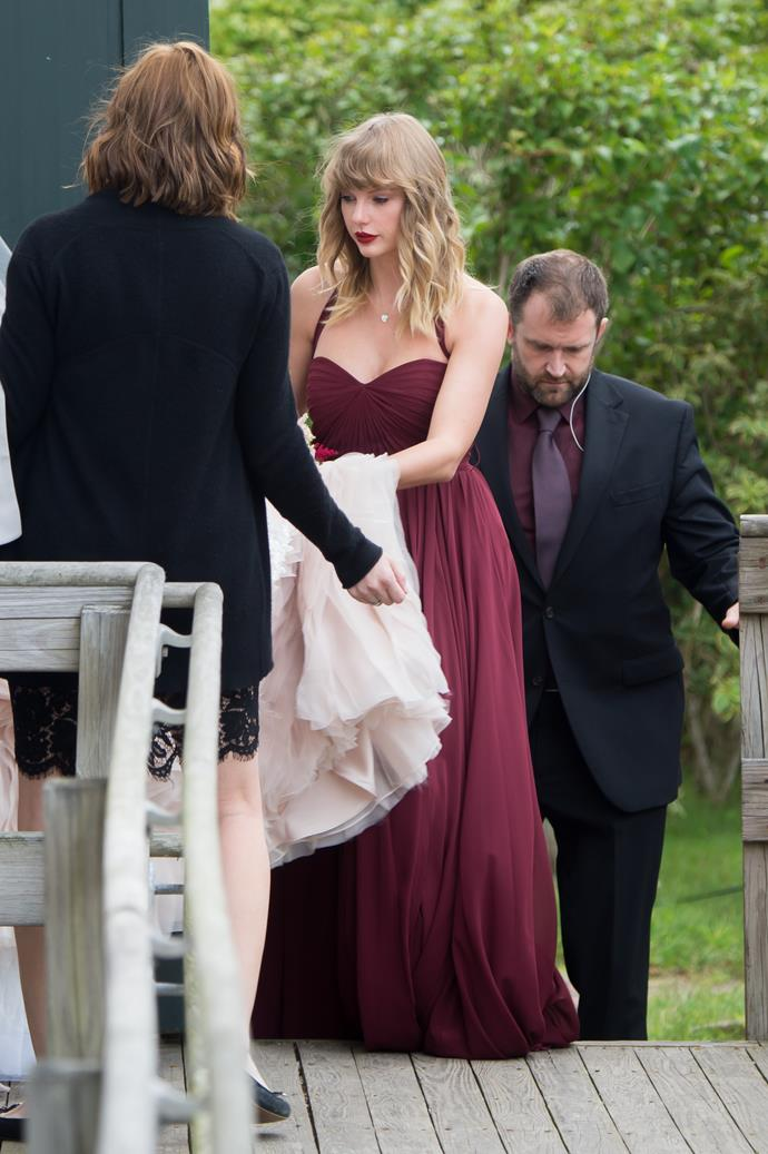 **Taylor Swift** <br><br> Not her first time in the bridesmaid role, Taylor Swift donned a burgundy floor length dress, to support her best friend Abigail at her wedding in Martha's Vineyard, Massachusetts.