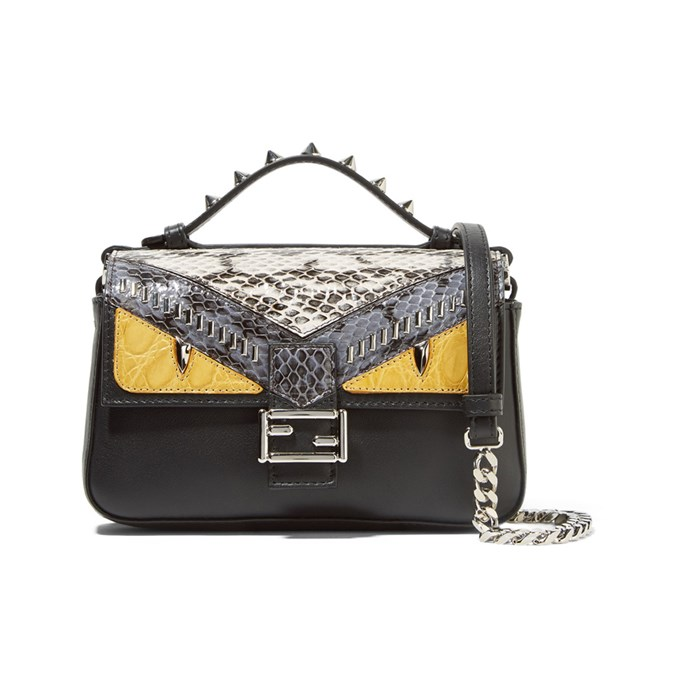 Shoulder bag, $3,470, [Fendi](https://www.net-a-porter.com/au/en/product/710093/Fendi/double-baguette-micro-elaphe-and-crocodile-paneled-leather-shoulder-bag) at net-a-porter.com