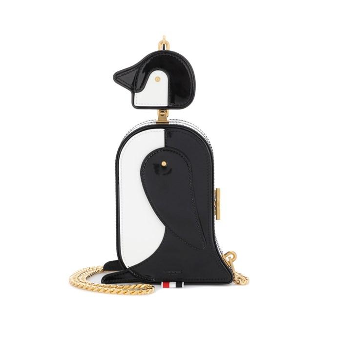 Shoulder bag, $7,518, [Thom Browne](https://www.mytheresa.com/en-de/thom-browne-patent-leather-penguin-shoulder-bag-843773.html?catref=category) at mytheresa.com