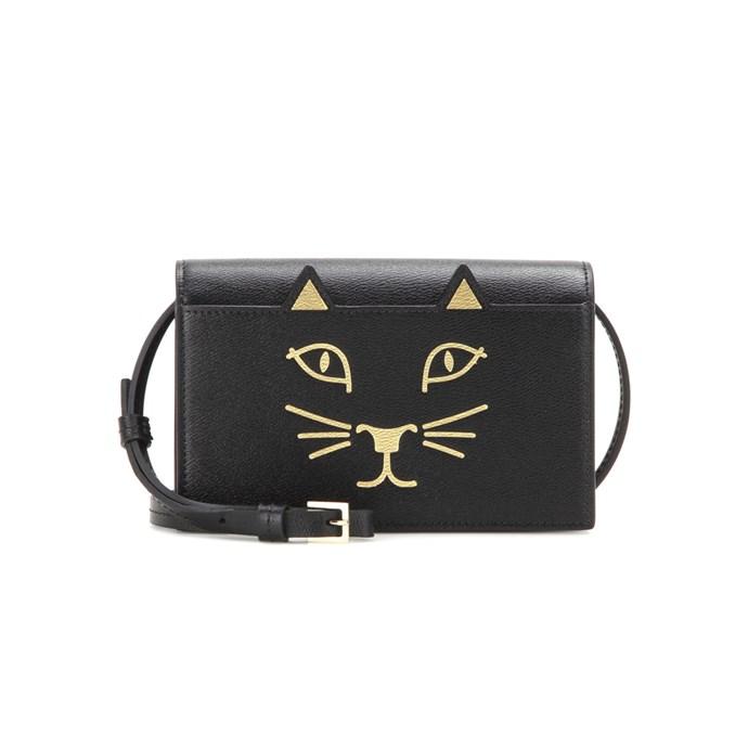 Shoulder bag, $857, [Charlotte Olympia](https://www.mytheresa.com/en-de/feline-purse-leather-shoulder-bag-624637.html?catref=category) at mytheresa.com