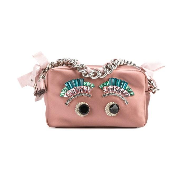 Clutch bag, $1,733, [Anya Hindmarch](https://www.farfetch.com/au/shopping/women/anya-hindmarch-eyes-chain-clutch-bag-item-12186835.aspx?storeid=10786&from=search) at farfetch.com