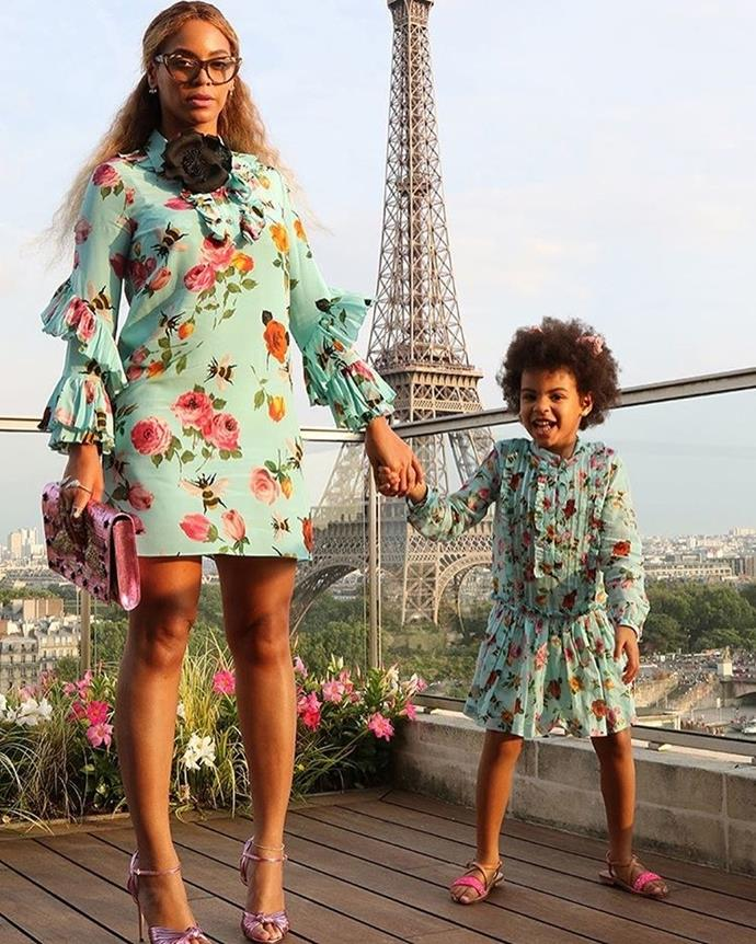 Beyoncé and Blue were twinning in these floral Gucci dresses.