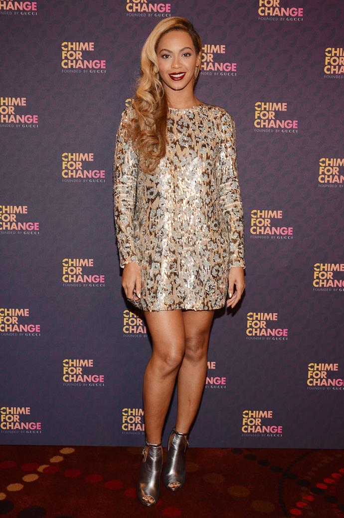 Beyoncé at Gucci's Chime For Change event in 2013.