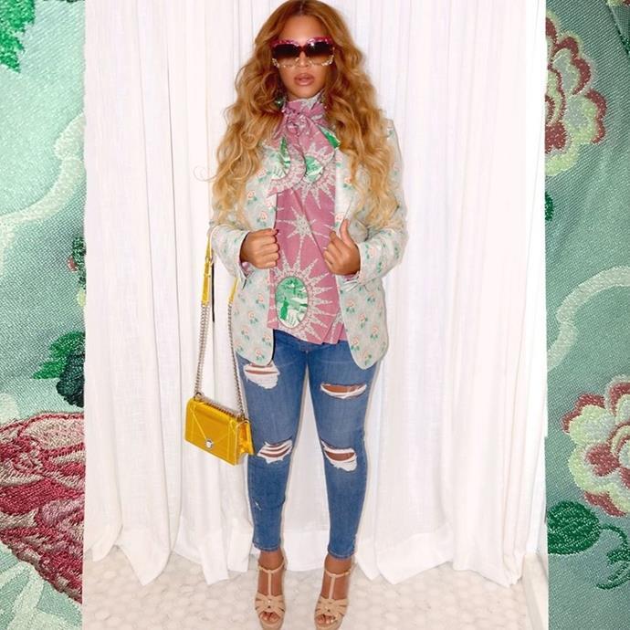 Beyoncé celebrated Cinco de Mayo in a Gucci jacket.