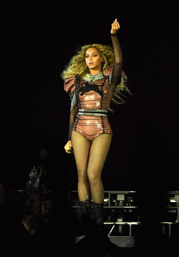 Beyoncé wore a custom Gucci panther bodysuit during the Formation world tour.