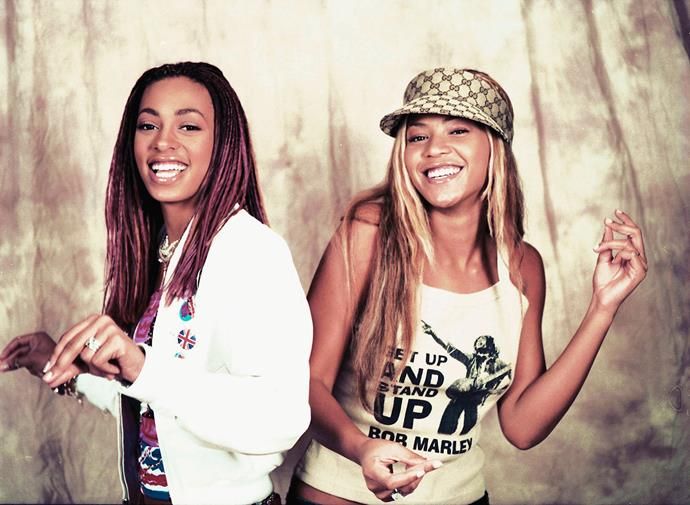 It looks like Beyoncé's love of Gucci started a long time ago—here she is with her sister, Solange, in 2001.