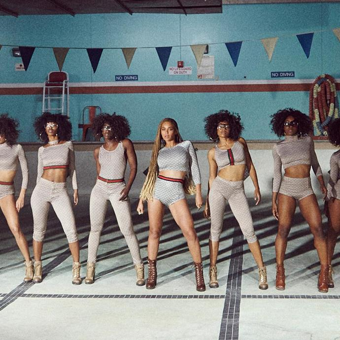 """Beyoncé and her dancers wore varying outfits covered in the Gucci logo in her """"Formation"""" music video."""