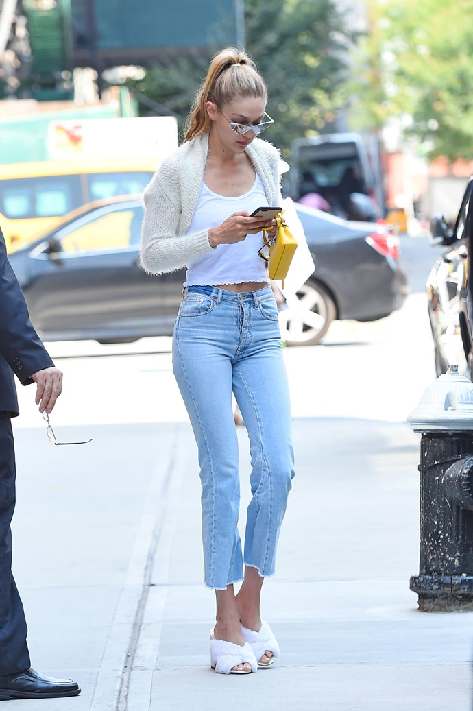 In September, Gigi stepped out in New York wearing an outfit with a little ode to her man...
