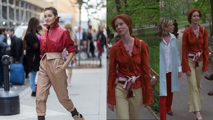 **The Red Button-Up With Camel Pants**<br><Br> Olivia Culpo / Miranda Hobbes