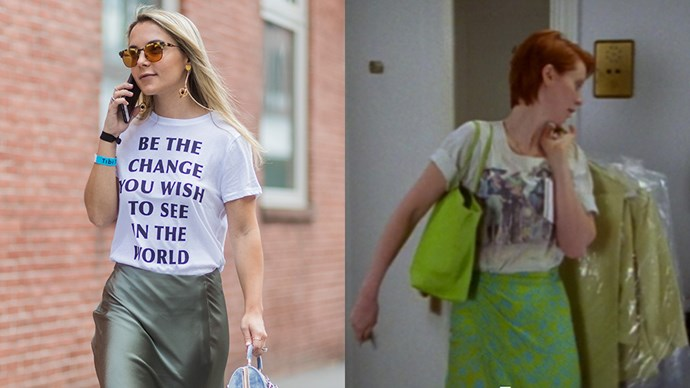 **The White Graphic Tee With The Green Skirt**<br><Br>